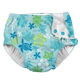 Green Sprouts Snap Reusable Swim Diaper - Aqua Hawaiian Turtle