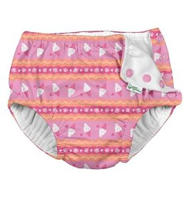 Green Sprouts Snap Reusable Swim Diaper - Pink Ice Cream Stripe