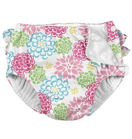 Green Sprouts Ruffle Snap Reusable Swim Diaper - White Zinnia