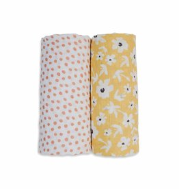 Lulujo Boho Muslin Swaddles - Wildflower/Dots