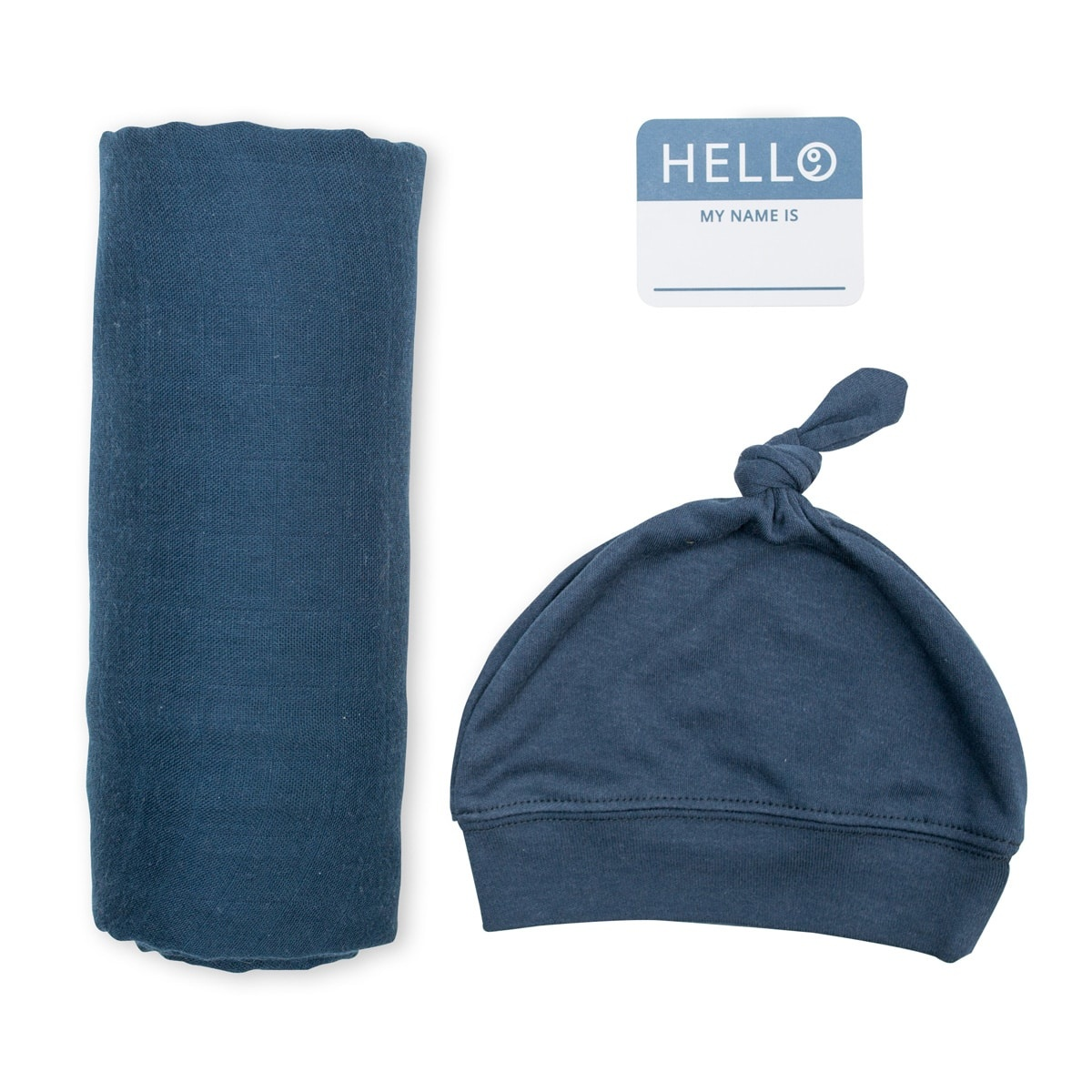 Lulujo Hello World NB Hat & Swaddle - Navy