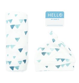 Lulujo Hello World NB Hat & Swaddle - Navy Triangles