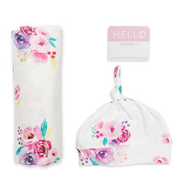 Lulujo Hello World NB Hat & Swaddle - Posies