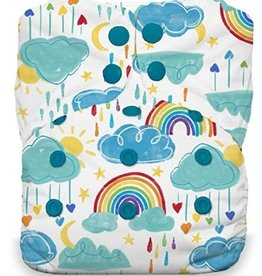 Thirsties Thirsties Stay Dry Natural One Size AIO - Snap - Rainbow