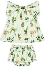Milkbarn Milkbarn - Bamboo Dress + Bloomer Set - Potted Plants