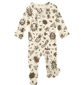 Loved Baby Loved Baby - Zipper Footie - Don't Bug Me! Beige