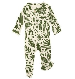 Loved Baby Loved Baby - Zipper Footie - Get Clover It! Beige
