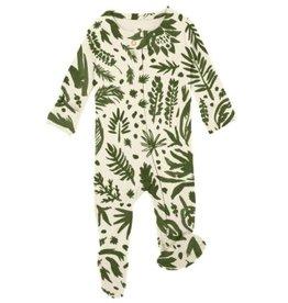 Loved Baby - Zipper Footie - Get Clover It! Beige