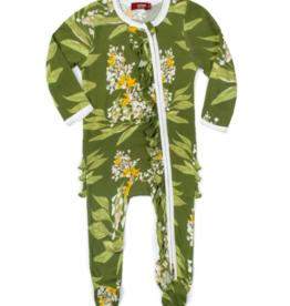 Milkbarn Milkbarn - Bamboo Ruffle Zipper Footed Romper - Green Floral