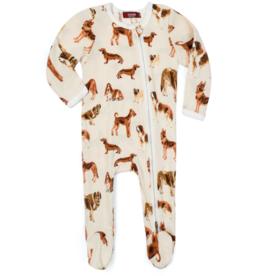 Milkbarn Milkbarn - Zipper Footed Romper - Natural Dog