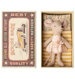 Maileg Little Sister Pink Poka Dots Mouse in Matchbox