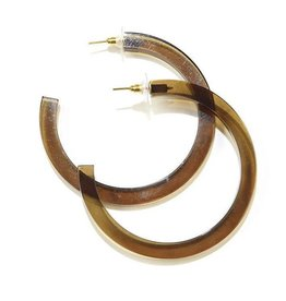 Ink + Alloy Olive Lucite Hoop Earring 2.75""