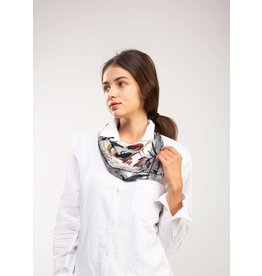Look By M Beige Watercolor Flower Silk Bandana