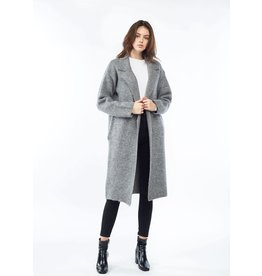 Look By M Wool Grey Collard Coatigan