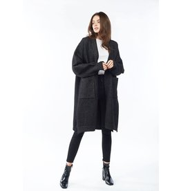 Look By M Black Bounce Wool Cardigan