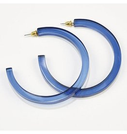 Ink + Alloy Blue Lucite Hoop Earring