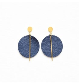 Ink + Alloy Indigo Leather Circle With Brass Post Earring