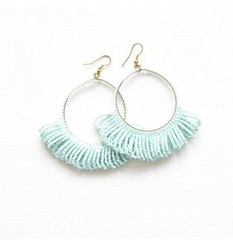 Ink + Alloy Light Blue Fringe Hoop Seed Bead Earring