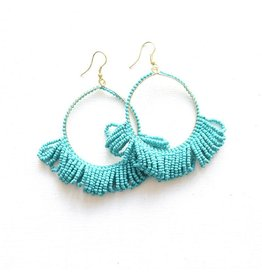 Ink + Alloy Turquoise Fringe Hoop Seed Bead Earring