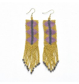 Ink + Alloy Citron and Lilac Seed Bead Earring