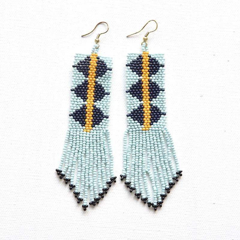 Ink + Alloy Light Blue and Navy Seed Bead Earring