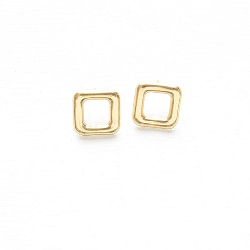 Ink + Alloy Small Brass Square Outline Post Earring