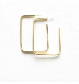 Ink + Alloy Brass Rectangle Hoop Earring
