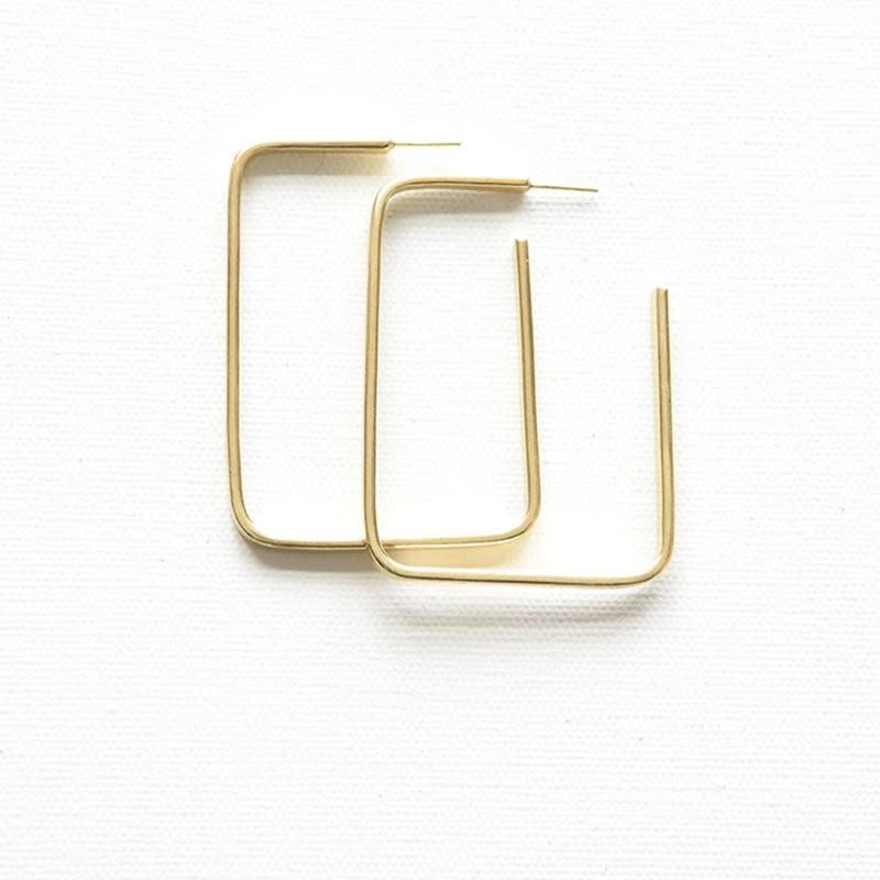Ink + Alloy Brass Rectangle Hoop Earring