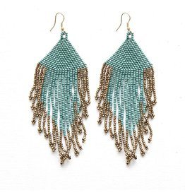 Ink + Alloy Teal With Gold Fringe Seed Bead Earring