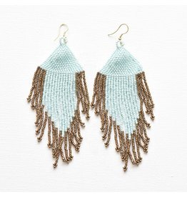 Ink + Alloy Light Blue and Gold Fringe Earring
