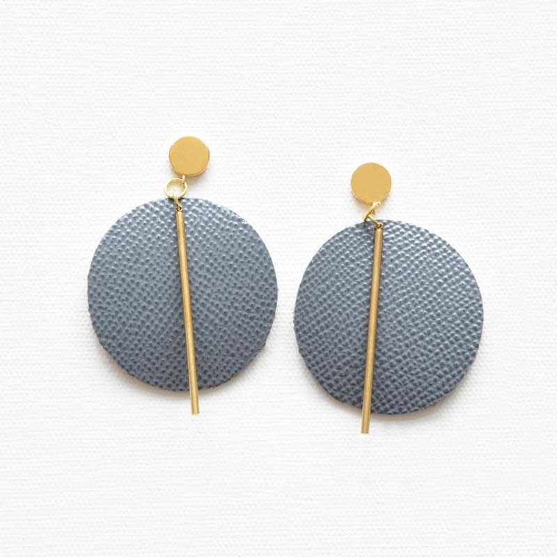 Ink + Alloy Grey Leather Circle With Brass Post