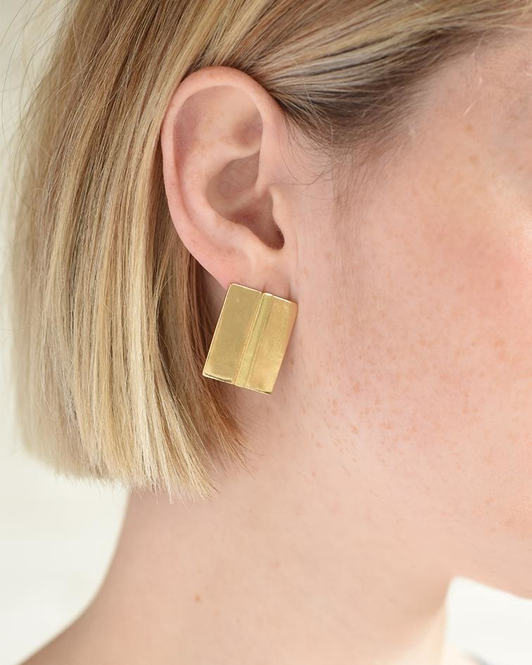 Ink + Alloy Small Brass Bar in Square Post Earring