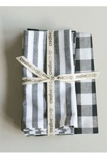 Creative Co-Op Gingham and Striped Napkin Set of 4