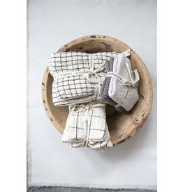 Creative Co-Op Natural Stripes and Plaid Set of 4 Napkins