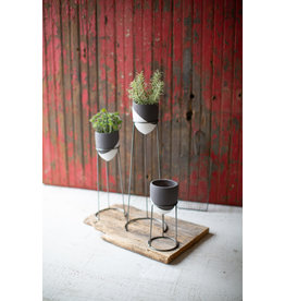 Kalalou Grey and White Wire Planter