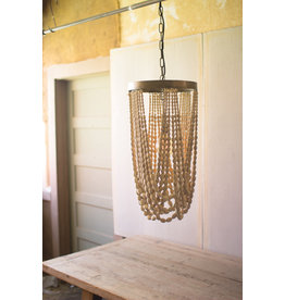 Kalalou Dropping Wood Bead Chandelier