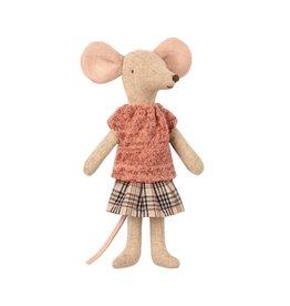 Maileg Plaid Skirt Mum Mouse