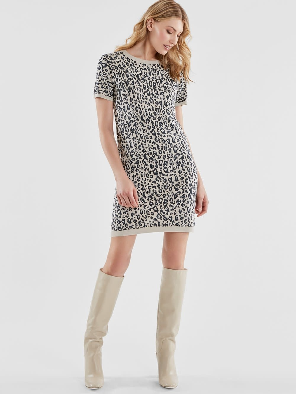 525 America Leopard Knit Dress