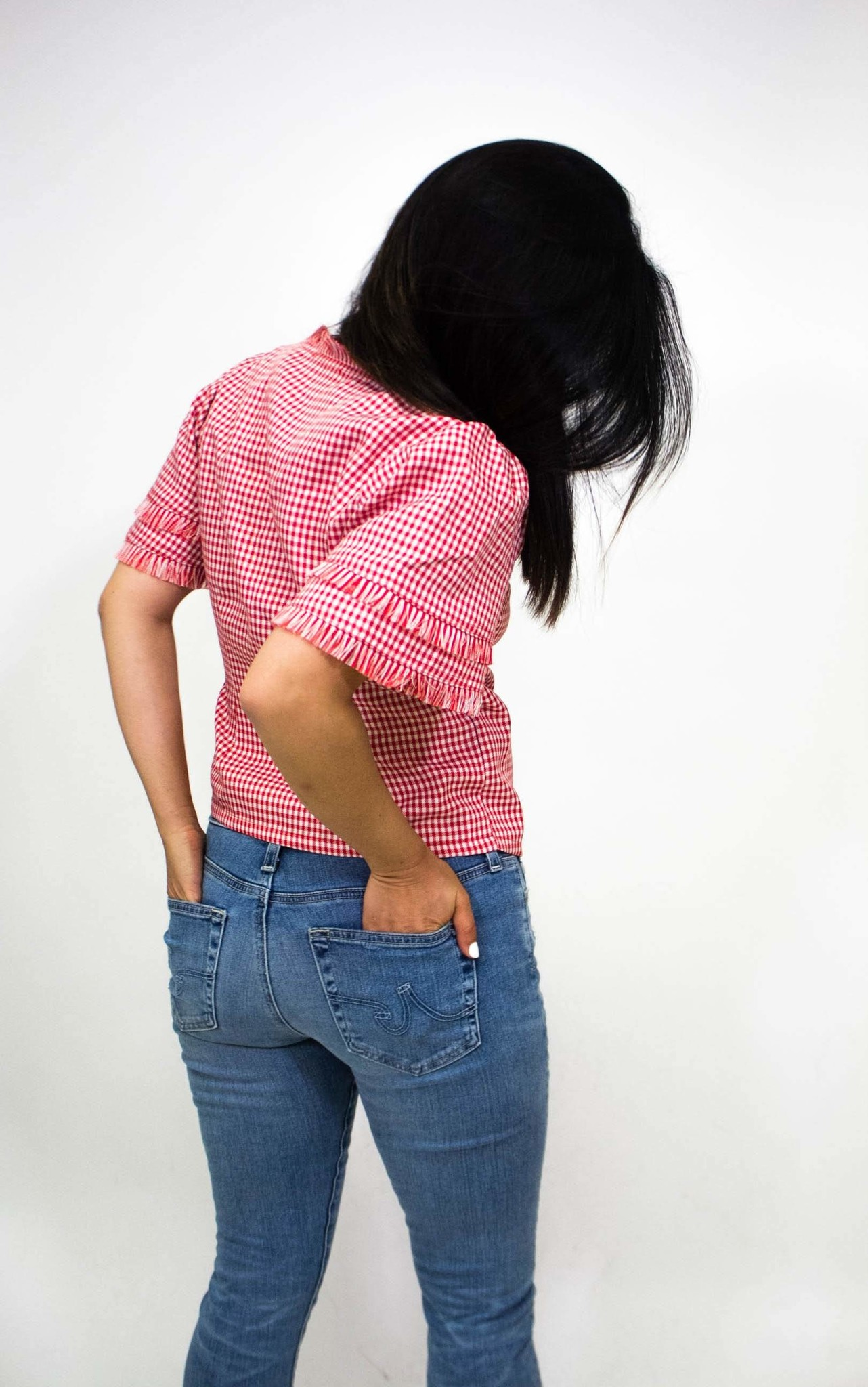 Robin K. Gingham Wrap Blouse