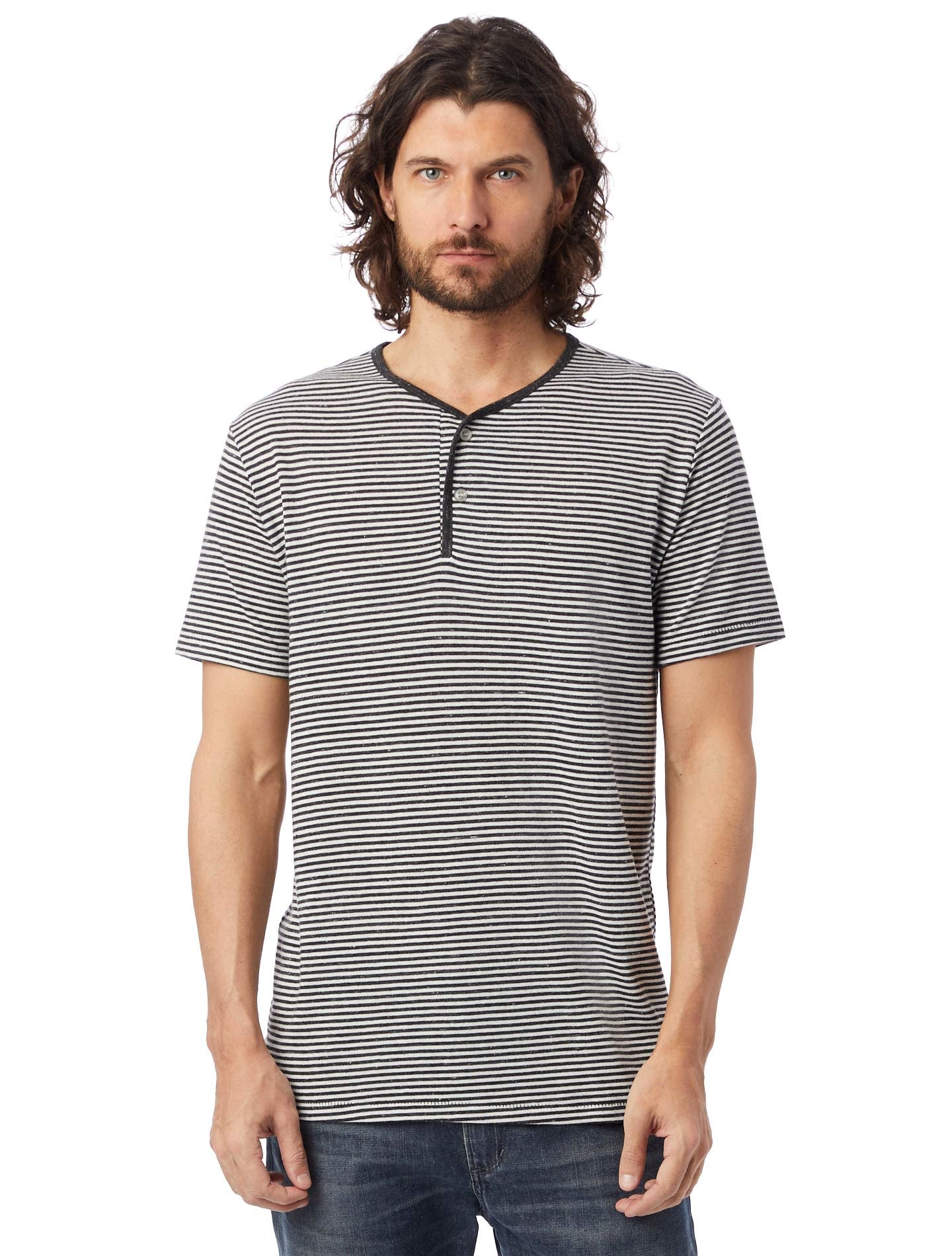 Alternative Apparel Throwback Striped Eco- Jersey Henley