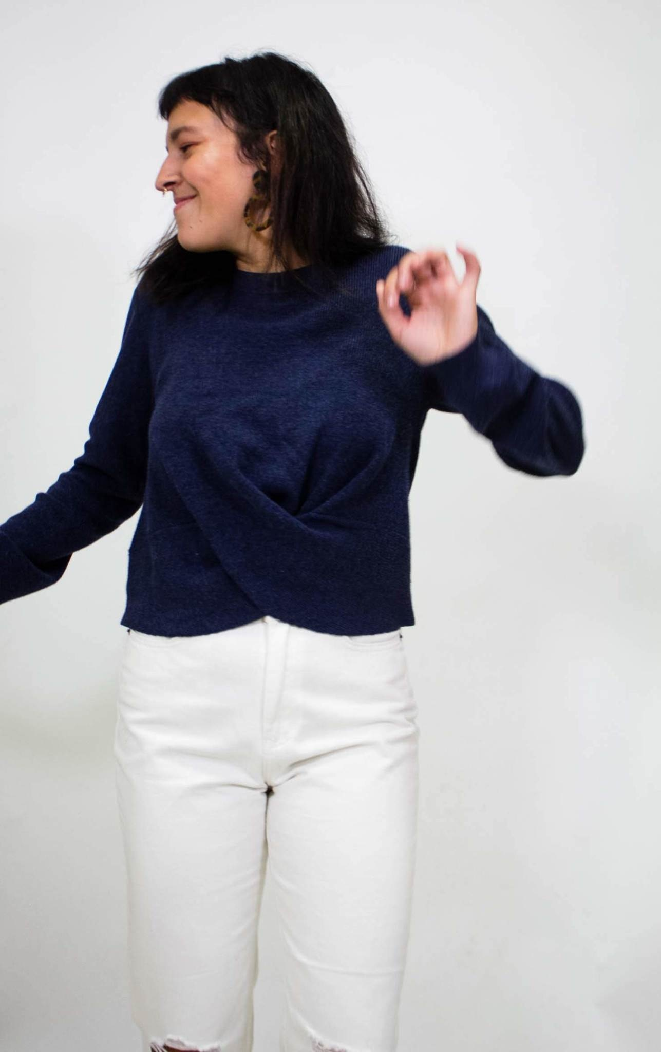 525 America Twist Top Navy Sweater