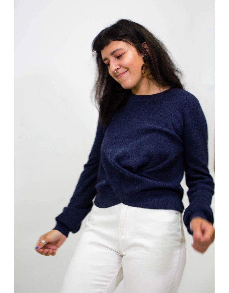525 America Twist Top Navy Sweater