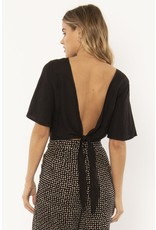 Amuse Society Brie Woven Black Top