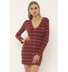 Amuse Society Baciami Fig Long Sleeve Strip Dress