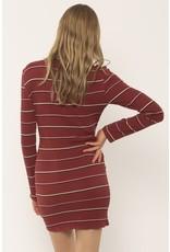 Amuse Society Baciami Fig Long Sleeve Strip Dress