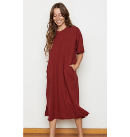 Back Beat Rags Berry Hemp Patch Dress