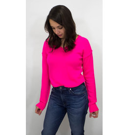 525 America Hot Magenta Cashmere Sweater