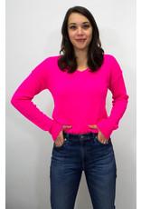 525 America Hot Pink V Neck Cashmere Sweater