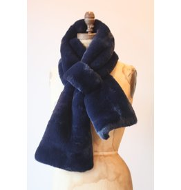 Apparis Luna Navy Blue faux Fur Scarf