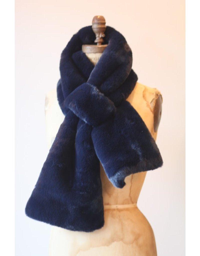 Apparis Luna Navy Blue faux Fur Scarf